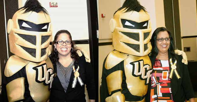 Diane Maldonado and Usha Lal pose with the UCF mascot