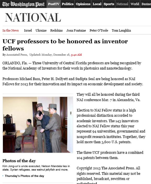 Washington Post article featuring UCF inventors