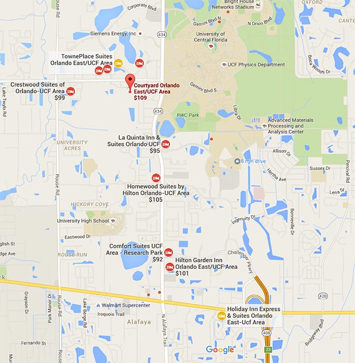 Map Of Hotels Near UCF Campus